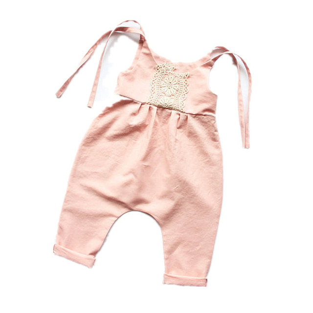 39ba9a32bde0 2017 Funny Baby Clothes Lace Ruffles Floral Sleeveless Romper Tiny ...