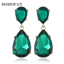 Colorful Gems Earrings Elegant lady Jewelry Water Drop Design Fashion Women 2018 boucle doreille Charm Accessories Gift