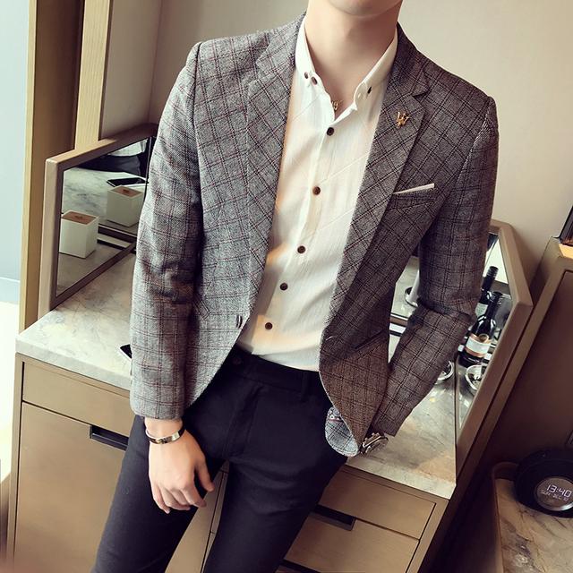 Youth fashion small suit male 2018 spring men's suit Korean Slim lattice single West men's casual jacket