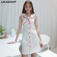 Elegant vintage french white sweet mini dress preppy sleeveless off the shoulder sailor neck stretch summer party dress sale