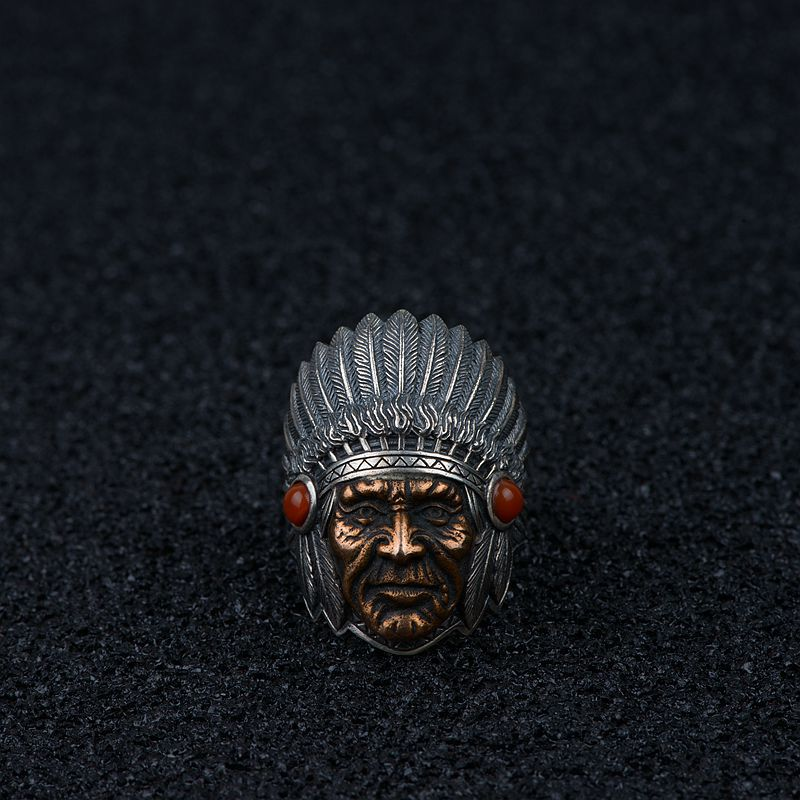 Genuine Solid 925 Silver Rings Cool Indian Figure Head Sculpture Vintage Large Rings Fine Jewellery For Men Adjustable