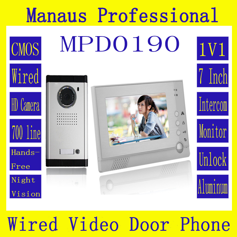 Hot Selling Smart Home 1V1 Intercom System One To One Video Doorbell 7 Inch Display 6 IR Lamps Cable Visible Interphone D190b