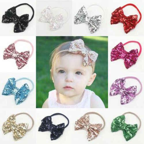 Модная одежда для новорожденных Для Маленьких Девочек Милая повязка на голову с бантом, головные уборы для новорожденных головной убор повязка на голову цвета: золотистый, розовый синий серый