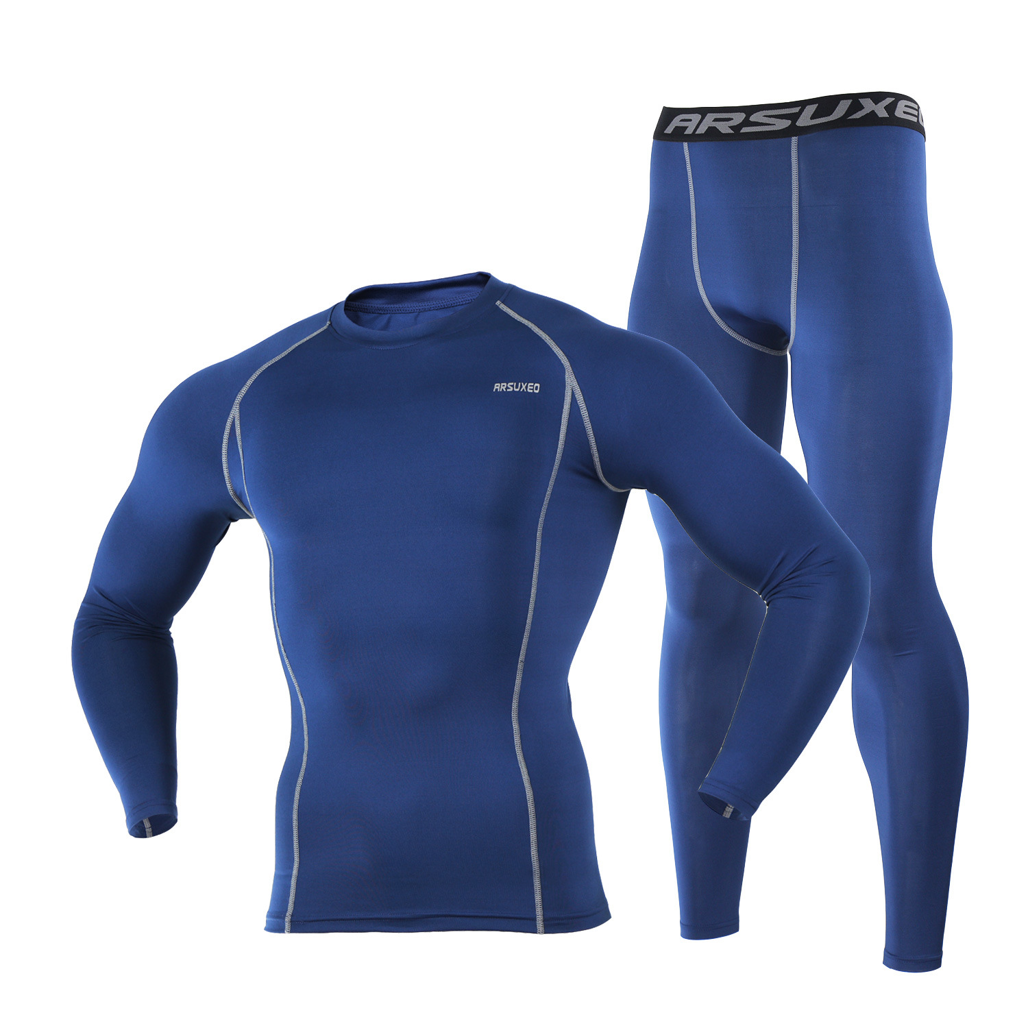 Image 2 - ARSUXEO Mens Compression Set for Running Jogging Sports Gym Fitness Tights Workout Crossfit Suits Long Shirt and Leggings Pants-in Running Sets from Sports & Entertainment on AliExpress