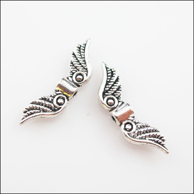 6 Angel Wing Beads Wing Spacers Silver Metal 2 Sided Charms