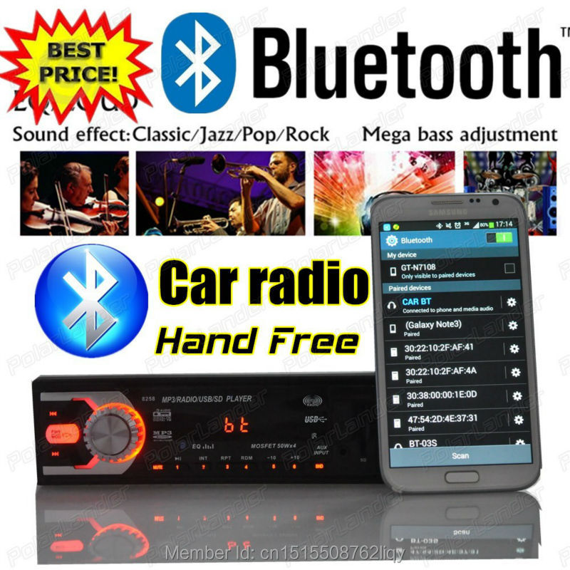 2015 New Hot bluetooth function car radio stereo 12V mp3 player in single din size audio/SD Card/USB Port/AUX IN/PHONE in dash