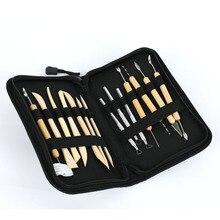 14 шт./компл. инструменты для керамики DIY нож Инструменты для моделирования Глина деревянная восковая ручка глина скульптура резьба ремесло действие с сумкой