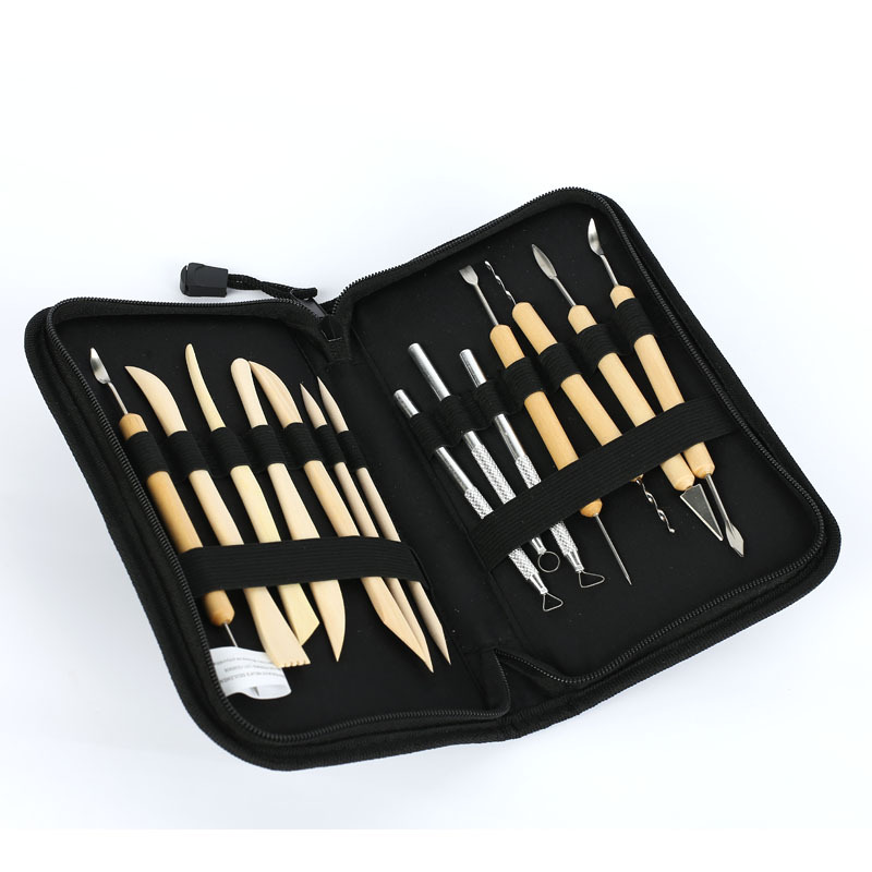 14pcs/set Pottery Tools DIY utility knife Tools of Modeling Clay Wood Wax Handle Clay Sculpture Carving Craft ACT with bag пирамида яшма мукаит 5 см