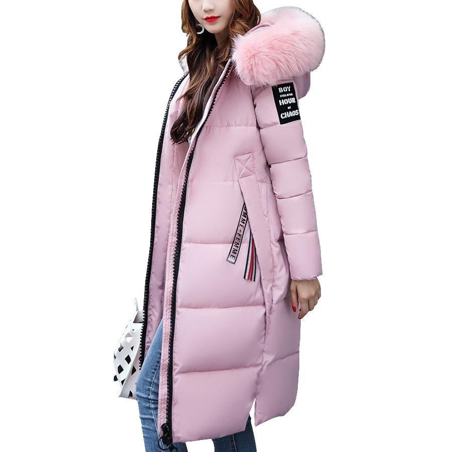 Kurtka zimowa kobiety 2017 duże futro kołnierz z kapturem bawełny wyściełane długi płaszcz kobiety Parka zagęścić ciepła kurtka kobiet Plus rozmiar w Parki od Odzież damska na  Grupa 1
