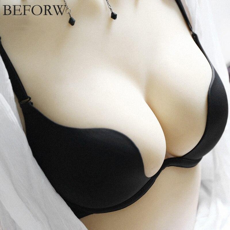 Deep U Sexy Lingerie Backless Bra Ultra Low Cut Underwear Brassiere B Cup Push Up Bras