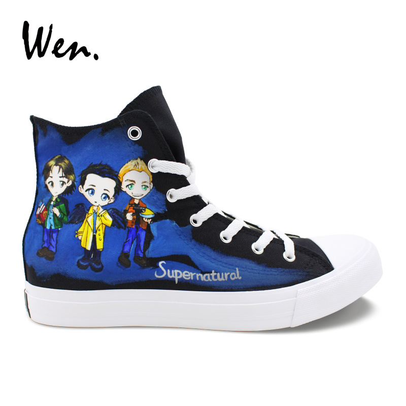 Wen Shoes Black High Top Black Canvas Sneakers Custom Design Hand Painted Supernatural Shoes Men Women Lacing Flat Plimsolls wen sneakers colorful ice cream hand painted canvas shoes white high top plimsolls original design graffiti single shoes flat