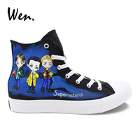 Wen Shoes Black High Top Black Canvas Sneakers Custom Design Hand Painted Supernatural Shoes Men Women Lacing Flat Plimsolls