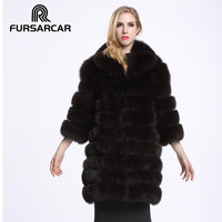 FURSARCAR Real Fur Coat Size S 8XL Material Blue Fox Fur Full Pelt Thickening Long Model Nine Quarter Sleeve C69
