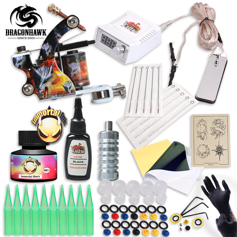 Free Ship Complete Professional Tattoo Kit With IMMORTAL High Quality USA Brand Ink As Gift Tattoo Power Supply free ship complete professional tattoo kit with immortal high quality usa brand ink as gift tattoo power supply