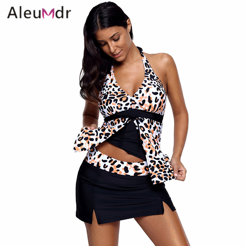 Aleumdr Swimming Suit For Women Sexy Print Tankini Top And Solid Swim Skirt Bottoms Swimsuit LC410262 Biquini Cintura Alta for honda civic accord crv xrv fit brand black luxury soft leather car seat cover front and rear complete set cover for car seat