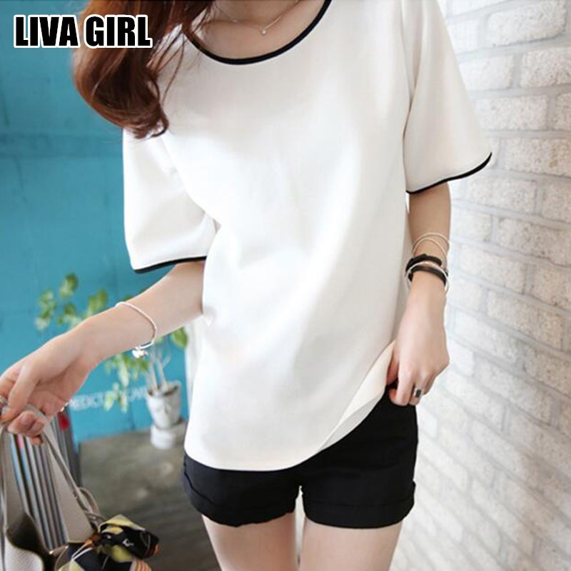 Liva Girl Casual Loose Women T Shirt Black White Solid Color Short Basic Tops & Tees Female T-Shirt M-2XL Large Size Girls Gifts girl