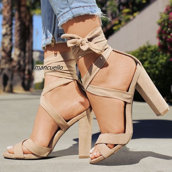 17aa357553 Pretty Beige Suede Block High Heel Sandals Fashionable Open Toe Ankle Wrap  Lace Up Chunky Heel