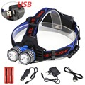 Headlight XM-L 2XT6 LED Head Light 4 Modes Rechargeable Headlamp Lantern Hunting Head Flashlight +Car AC Charger +18650 Battery