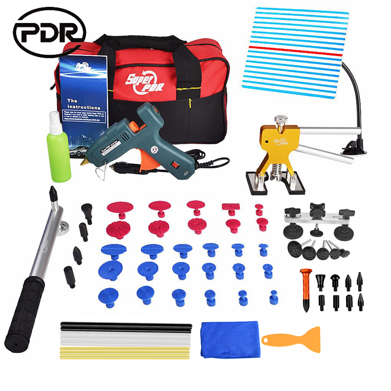 PDR Tools Paintless Dent Repair Tools Dent Removal Dent Puller Car Body Repair Kit Tool To Remove Dents Glue Tabs Hand Tool Set 5 second fix liquid plastic welding kit uv light repair tool glue kit
