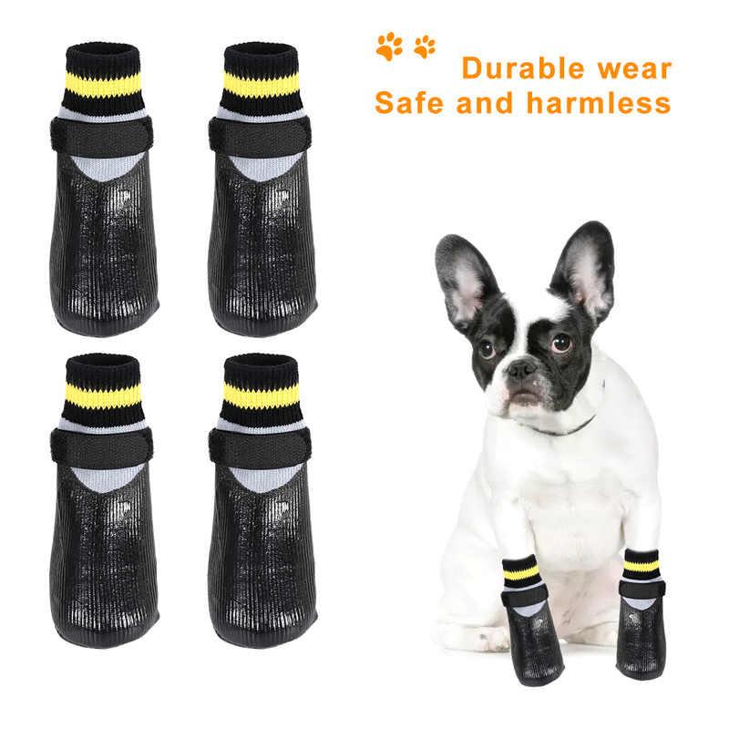 4 шт. Водонепроницаемая Уличная обувь для собак с фиксированным ремнем, непромокаемые сапоги, нескользящие носки, обувь для домашних животных, щенков, собак