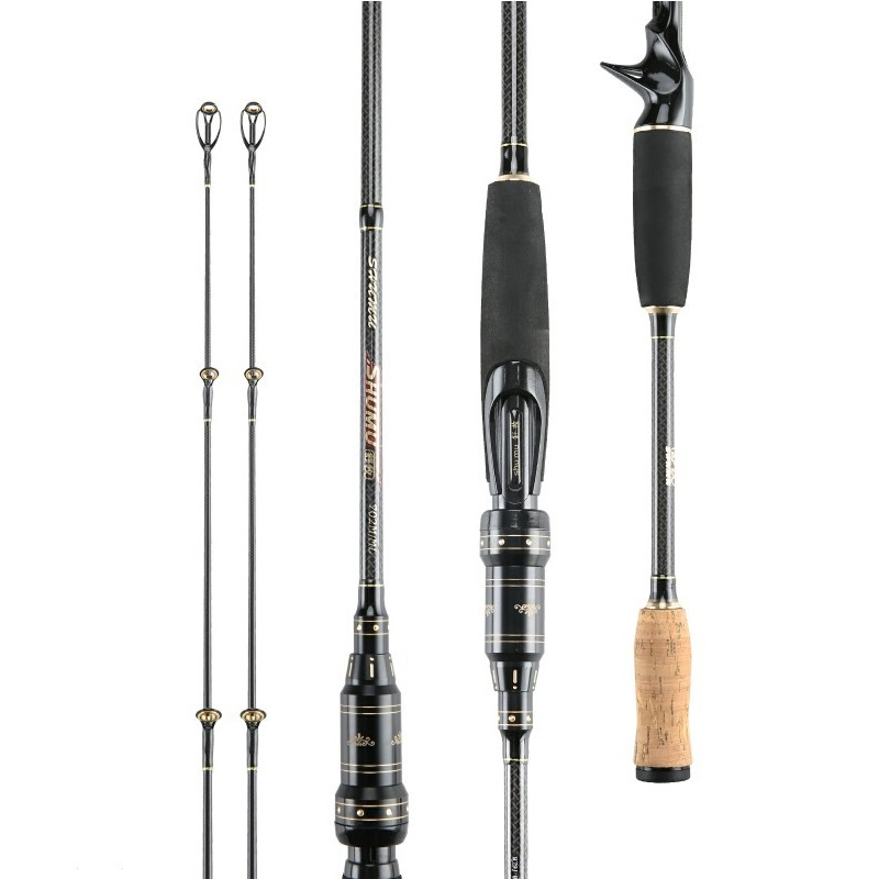 2 1m 2 4m Ultralight Carbon Casting Spinning Fishing Rod Travel Fishing Rod With 2 tips