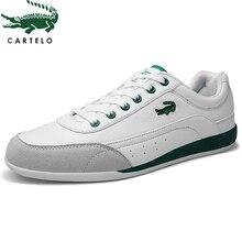 CARTELO zapatos informales para hombre zapatillas cómodas con correa redonda, transpirables, color blanco