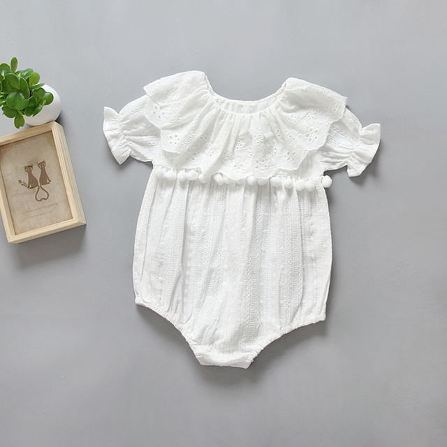 5346d9629dc51 Summer Baby Rompers Casual Cotton White lace Romper Jumpsuit Baby Girl  Clothes 2017 New Infant Clothing 0-24M Toddler Rompers