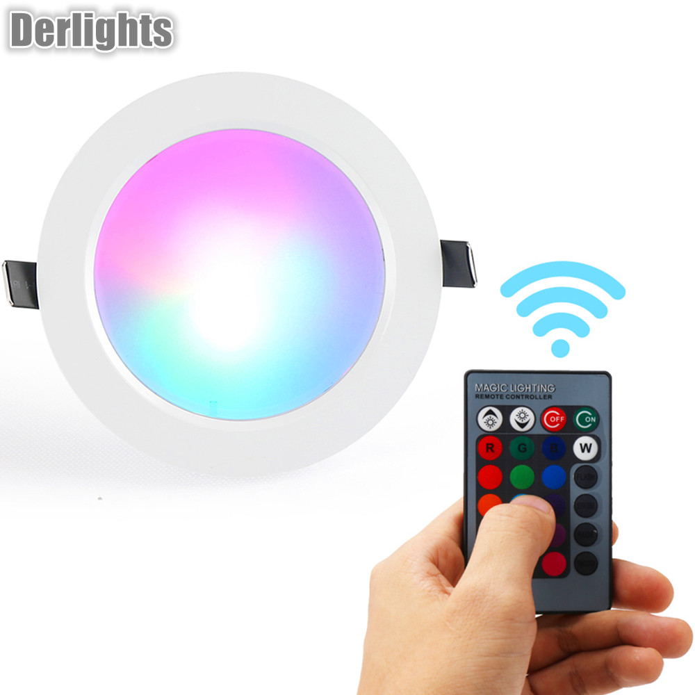 RGB LED Ceiling Light Lamp AC85-265V Color Changing RGB Magic LED Light Spotlight + IR Remote Control 30cm color changing remote control party pool magic waterproof rgb night lighting lamp globe