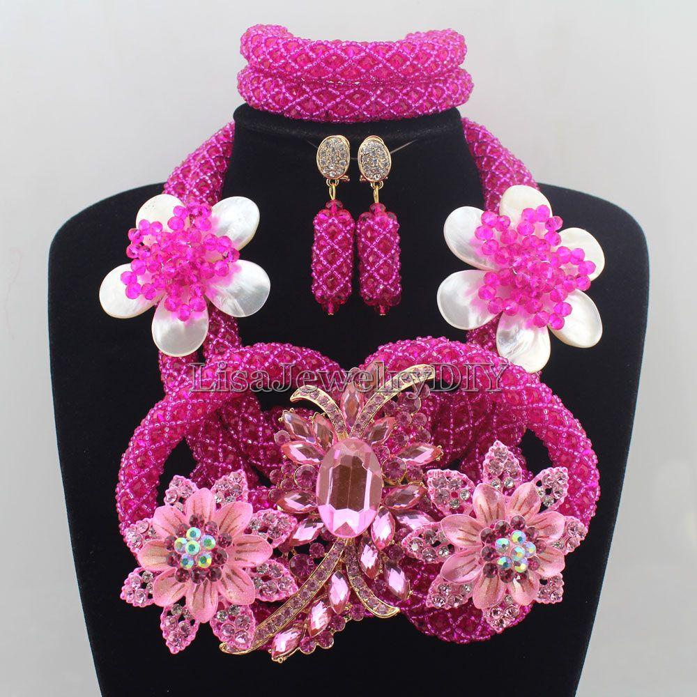 2016 Latest Fashion Crystal Beads Jewelry Set Costume Nigerian ...