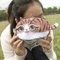 Monedero Nueva 3D chica billetera bolsa señoras cara cremallera mini gato animal de la felpa del monedero de monedas de la bolsa del monedero niños kawaii bolsa