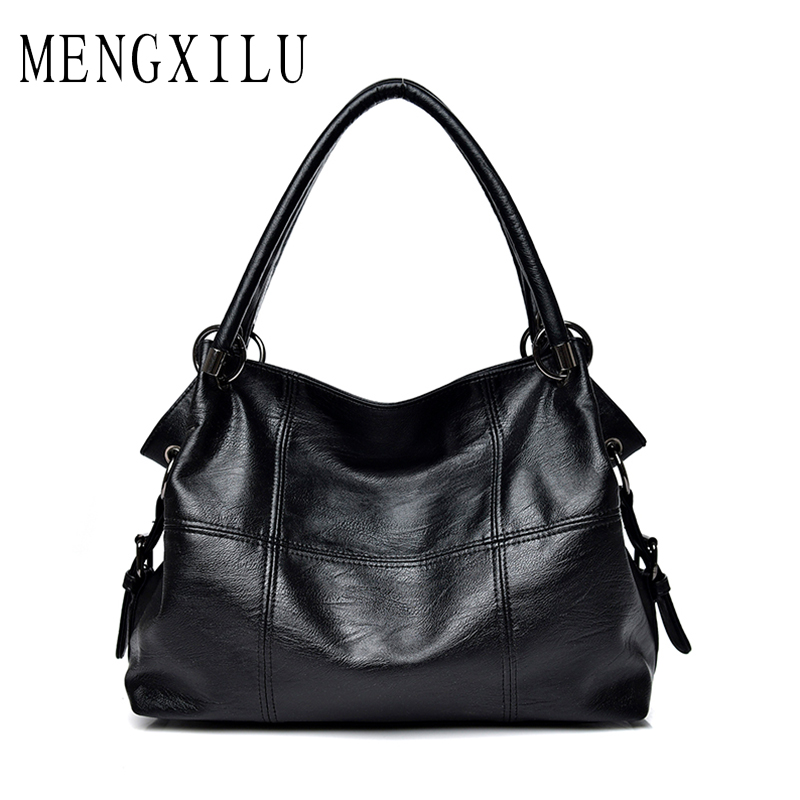 MENGXILU High Quality Soft Pu Leather Top-handle Bags Casual Tote Ladies Handbags Women Famous Brands Female Shoulder Bags Bolsa new fashion style belt top handle bags women bags handbags women famous brands oil skin solid soft female casual tote sac a main