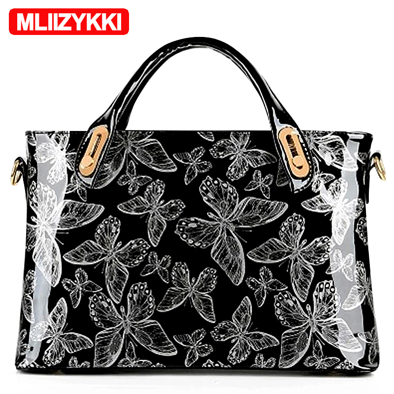 MLIIZYKKI Women Luxury Patent Leather Tote Bag Butterfly Handbags Lady's Lacquered Bag Red Handbag for Women Shoulder Bag