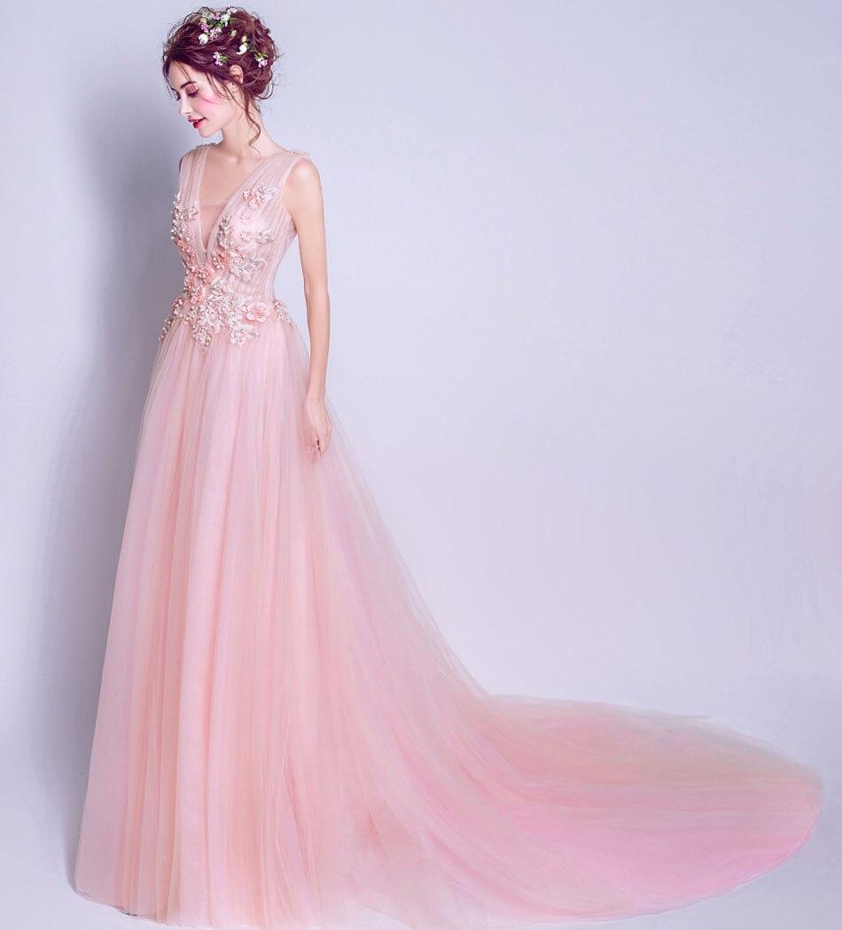 sexy romantic baby pink prom dress 2017 party dresses vestido de ...
