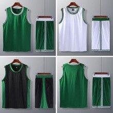 Баскетбольные Наборы для мужчин и мальчиков, можно DIY на заказ, баскетбольная форма, США, спортсмены колледжа, одежда, дешевая баскетбольная рубашка, шорты зеленого цвета