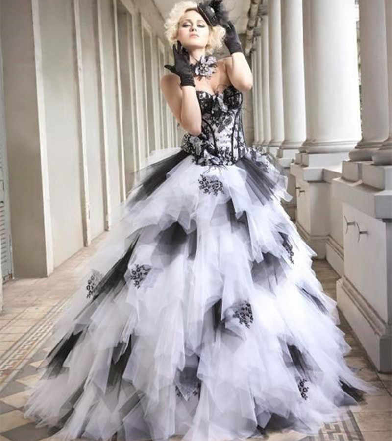 6500bc9fd7b7 ... Black and White Vintage Ball Gown Gothic Wedding Dresses 2019  Sweetheart Lace-Up Ruffles Skirt ...