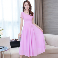 2018 New Summerach Women Dress Slim Chiffon Posed In Long Dresses White Black Light Green Deep