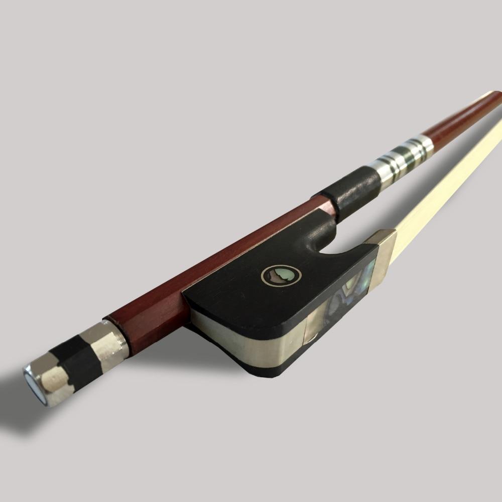 High Grade Cello Bow Exquisite Brazil Wood Ebony frog w Colored Shell White Horse Hair Violincello