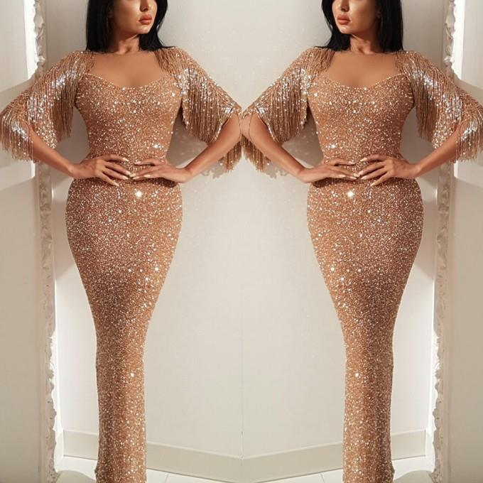Elegant Tassel Sleeve Long   Prom     Dresses   2019 Sexy Sparkly Mermaid   Prom   Gowns Sweetheart Formal Party   Dresses   Vestidos De Gala