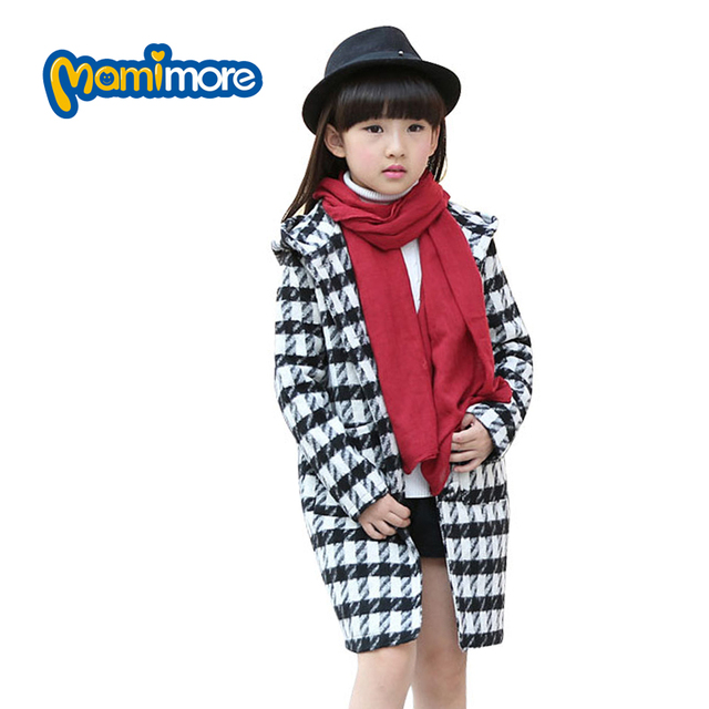 Mamimore Plaid Children Jacker Coat For Girls Spring Autumn Outwear Hood Long Woolen Kids Clothes Jacket ropa mujer Fashion