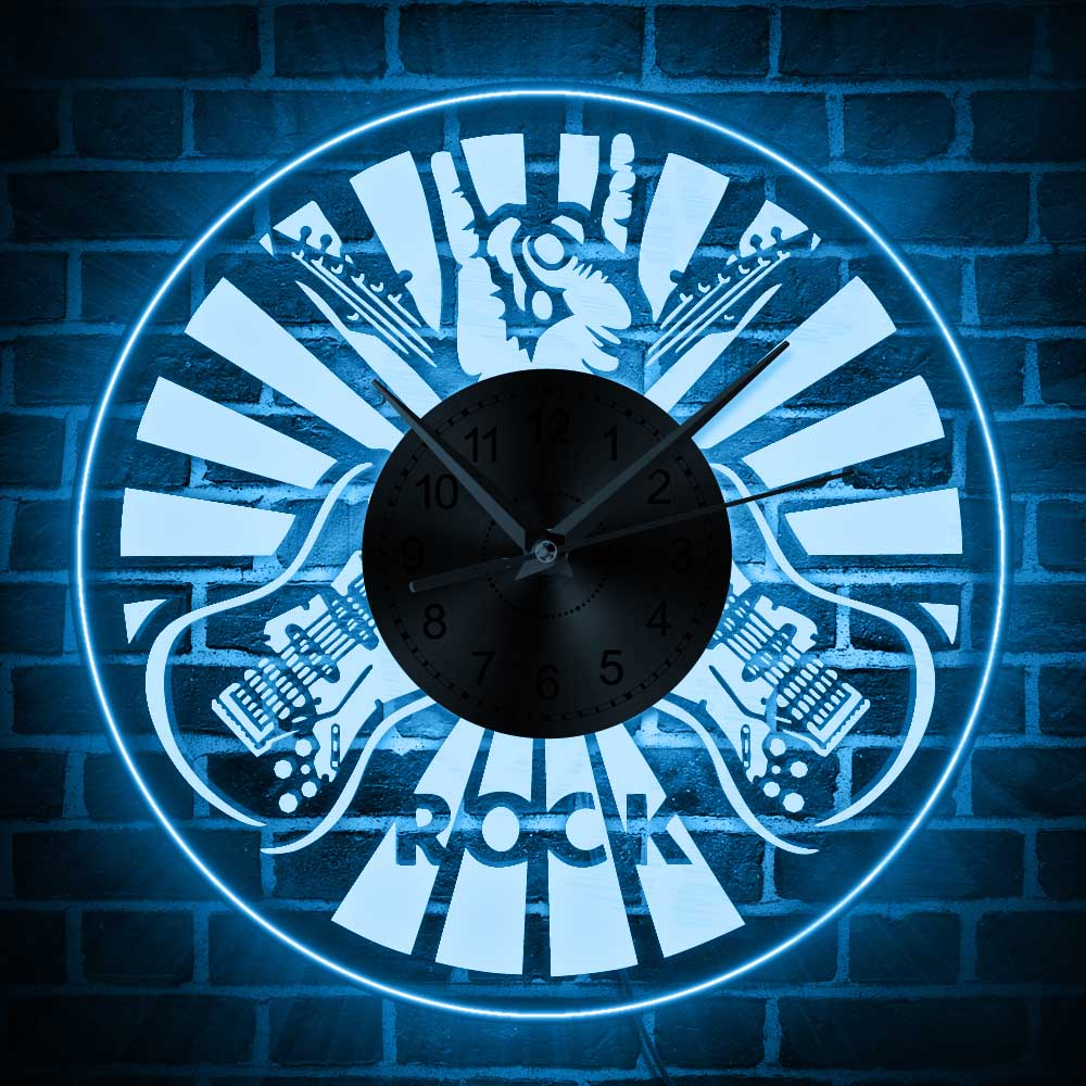 1piece led lighting wall clock rock music theme time clock 12 1piece led lighting wall clock rock music theme time clock 12 creative 3d acrylic wall clock art home decor in wall clocks from home garden on aloadofball Images