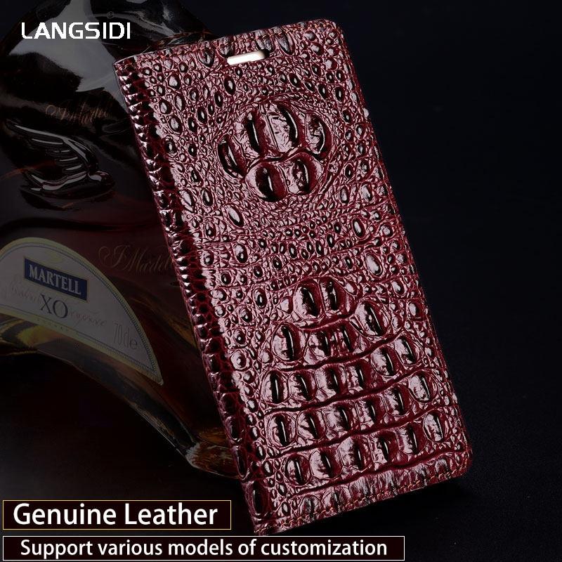 Genuine Leather Phone Case For Motorola Moto C G5 G5s E4 Plus Crocodile back Texture Flip case For Z2 Play Nexus 6 Cases