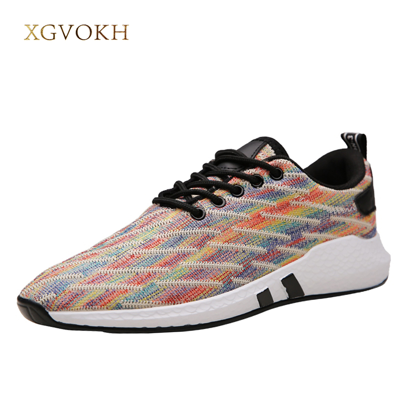 Mens rainbow Sneakers Lightweight Breathable Mesh Shoes for Men fashion walking causal flats tenis masculino esportivo
