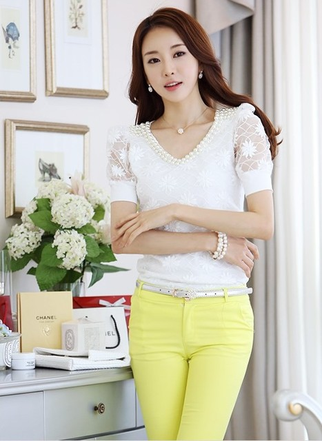 summer Women lace V-neck short-sleeved shirt Slim beaded chiffon shirt bottoming casual blouse 4