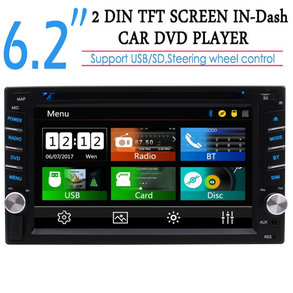 Double 2din 6.2'' Capacitive Touch Screen 2 Din Car Audio Stereo Head Unit Car DVD CD MP3 Player Autoradio In dash Car Radio laser head dvd v7 dvd 804c