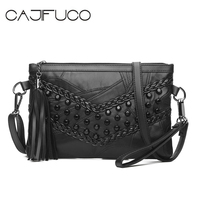 235636afb CAJIFUCO New Rock Style Chic Studded Cross Body Bags Metal Rivet Day Clutch  Lambskin Flap Bag
