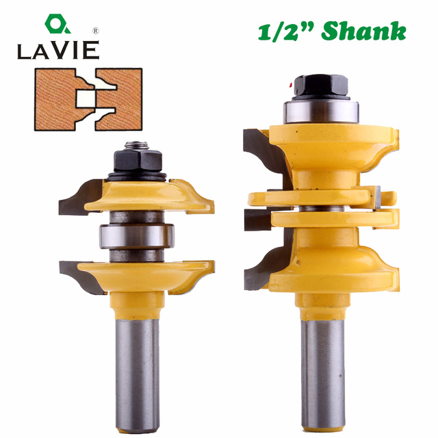 "LAVIE 2pcs 12mm 1/2"" Shank Entry & Interior Door Ogee Router Bit Matched MIlling Cutter Set for Wood Woodworking Machine  03123"