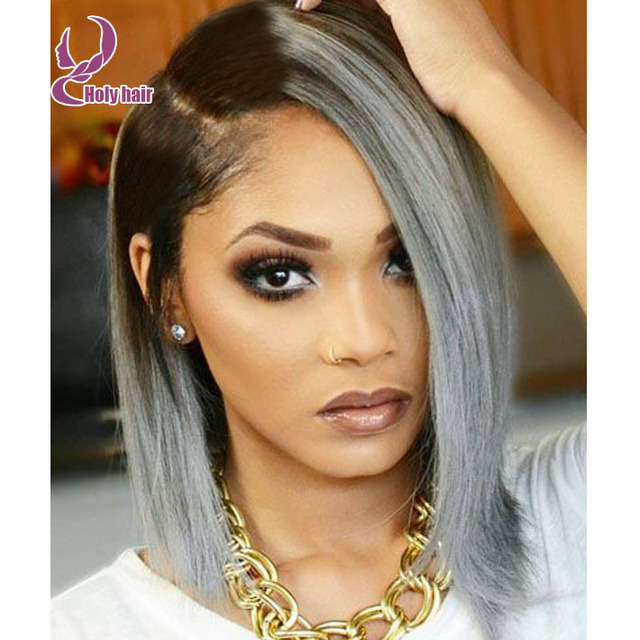 Ombre Silver Lace Front Bob Wigs Grey Human Hair Glueless Full Lace