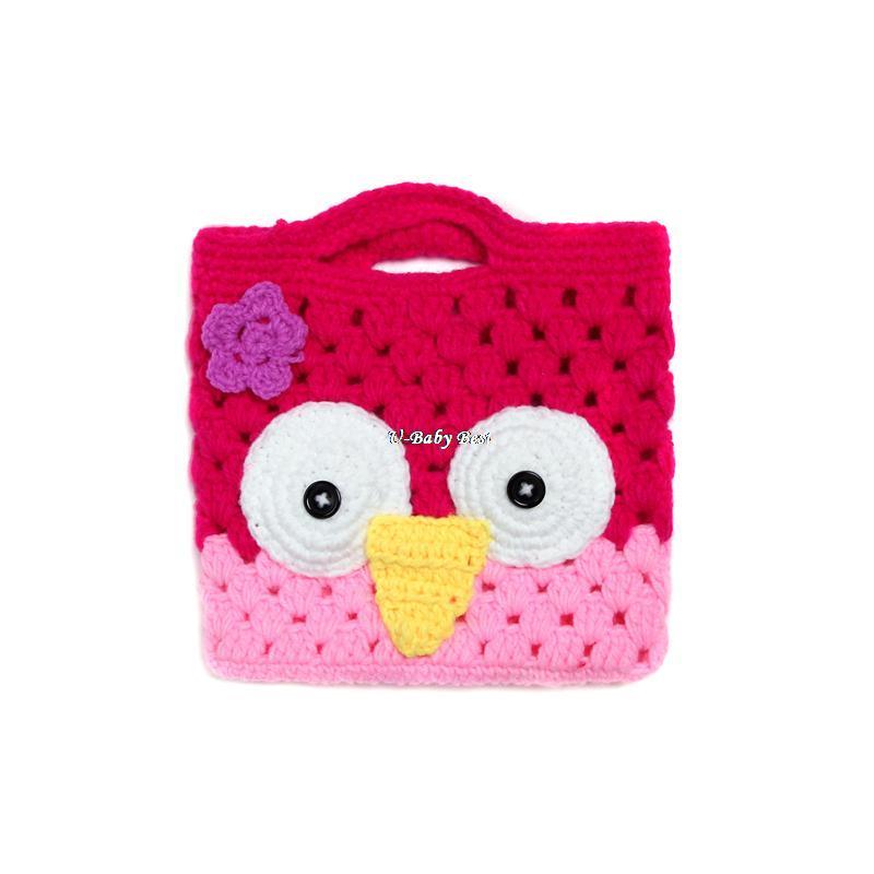 New Arrvials Animals Owl Design Handmade Crochet Flower Handbag For