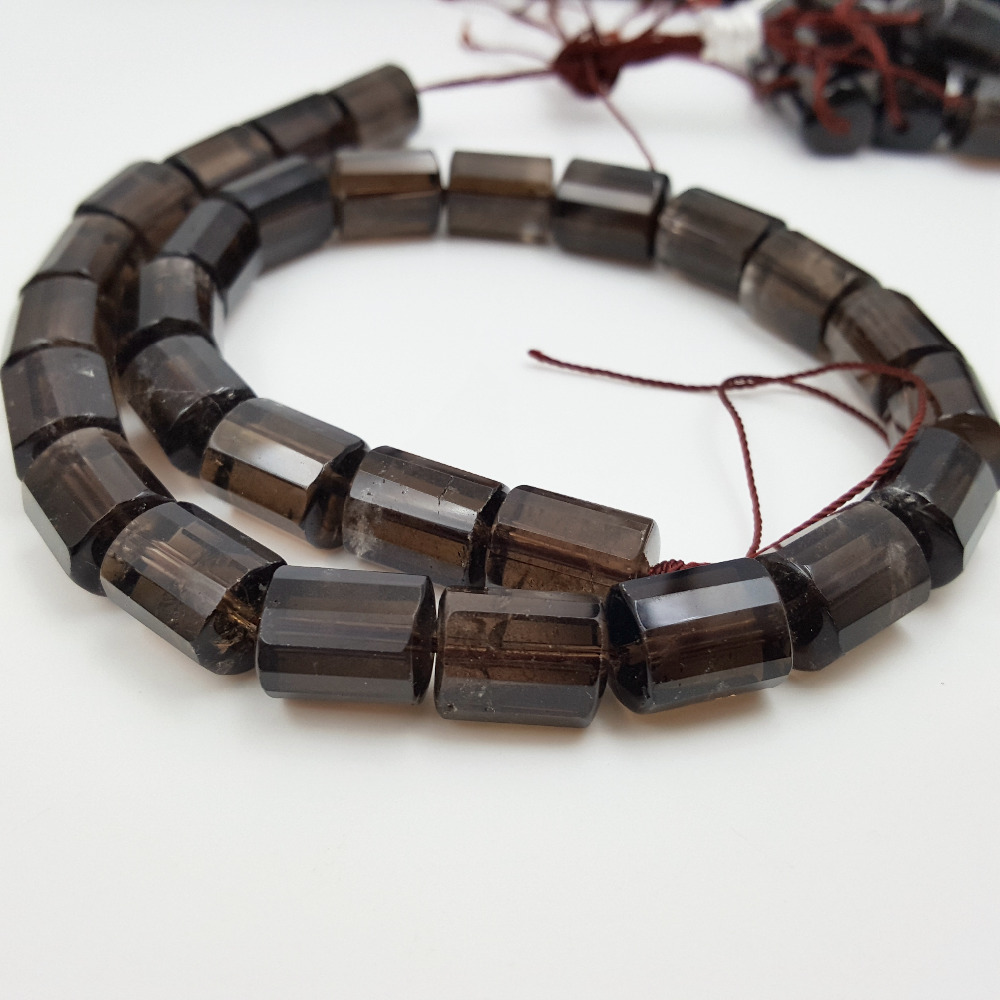 Lii Ji Grade A Gemstone Natural Stone Smoky Quartz Cylinder shape Faceted  beads 10x14mm DIY Jewelry Making
