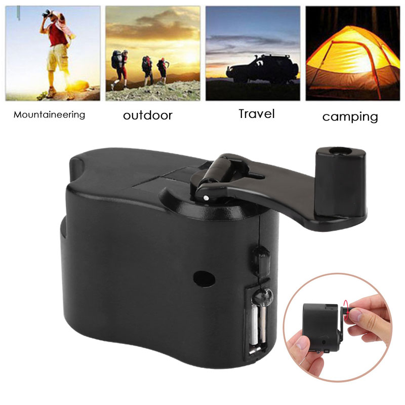 Hand Power Dynamo Durable Survival Gear Hiking USB ABS Clockwise Rotation Portable Outdoor Hand Crank Charger